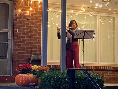 Theresa Abalos flutist. Photo by Monique Mead. November 2020.