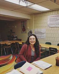Veronica Lopez, violist & music educator, during her student teaching semester. Pictured, Allegheny Traditional Academy.