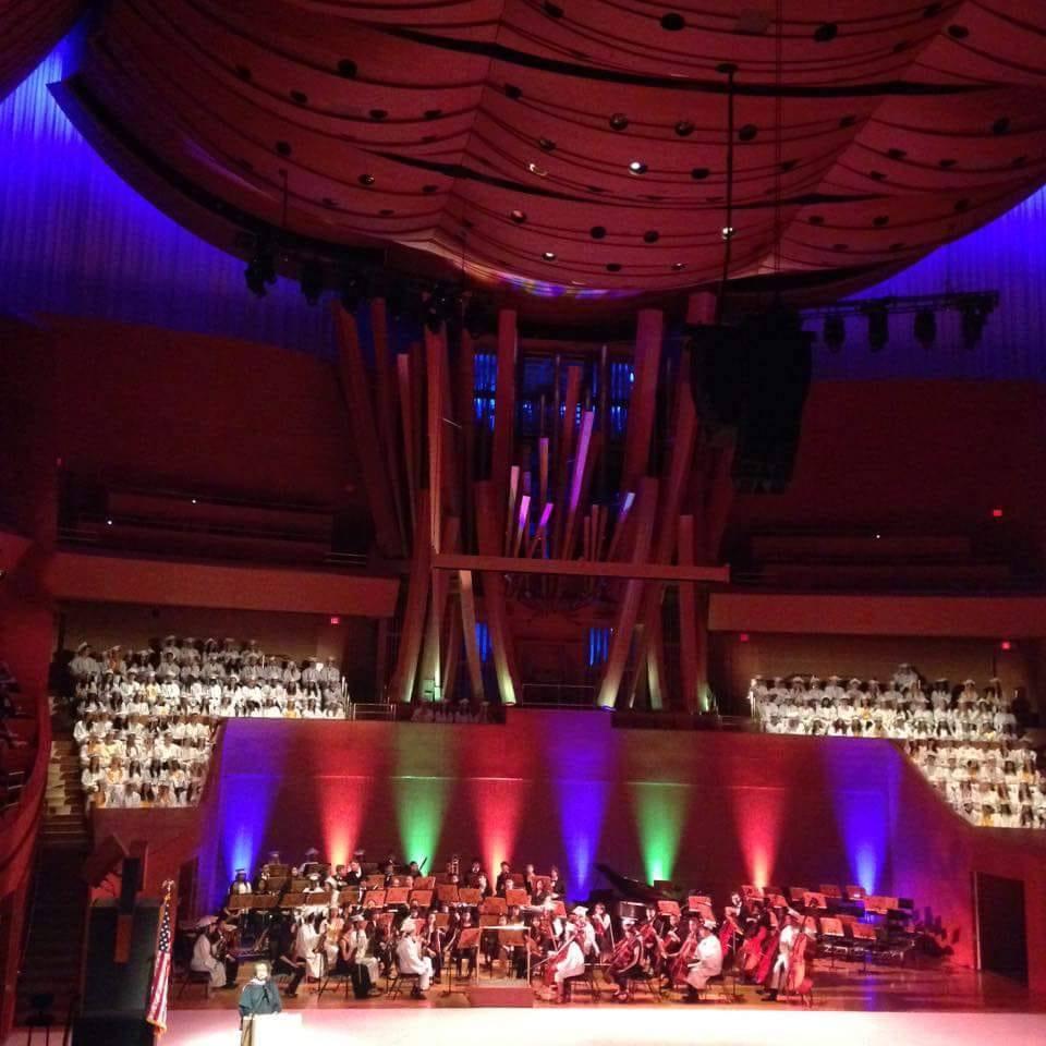 "Veronica Lopez, viola. 2015. LACHSA graduation at Walt Disney Concert Hall."""