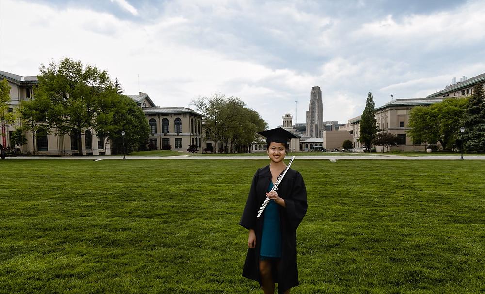 Theresa Abalos. Flutist. Carnegie Mellon University class of 2020. School of Music.