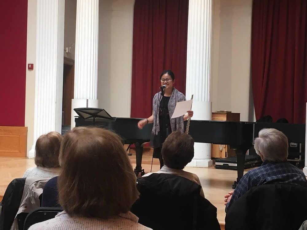 """Theresa Abalos presents """"Poems in Practice Rooms"""" for the first time in 2019. Alumni Concert Hall. Photo by Monique Mead."""