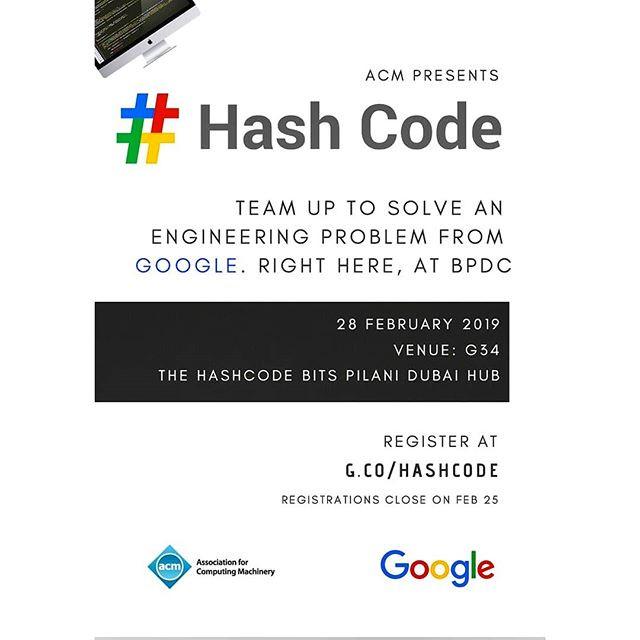 ACM is Hosting a Google Hashcode Hub on