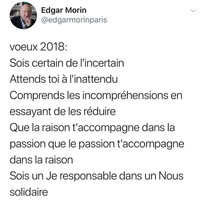 Voeux 2018 d'Edgar Morin