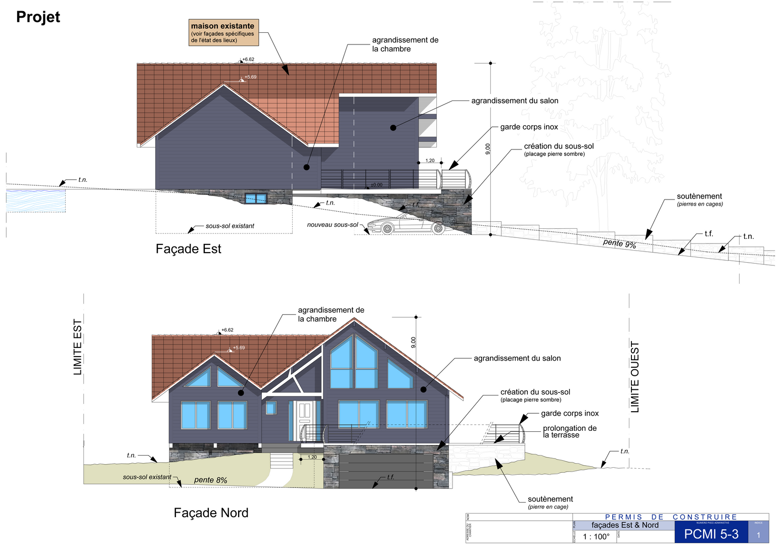 façades de la construction modifiée