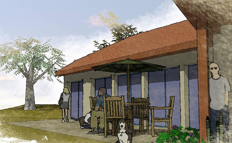 Terrasse face à la vue avec ses baies vitrées