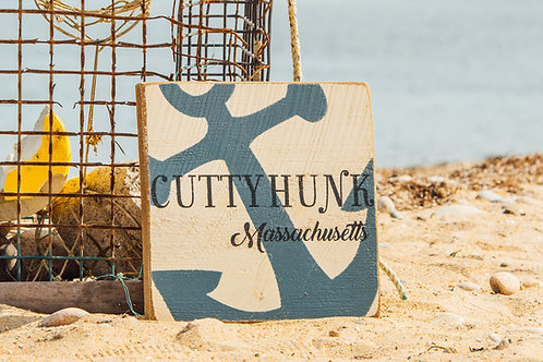 Rustic Wooden Sign - Blue Anchor