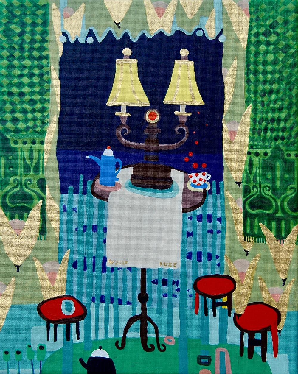 """When outside is raining"" acrylic, canvas. Framed 310eur."