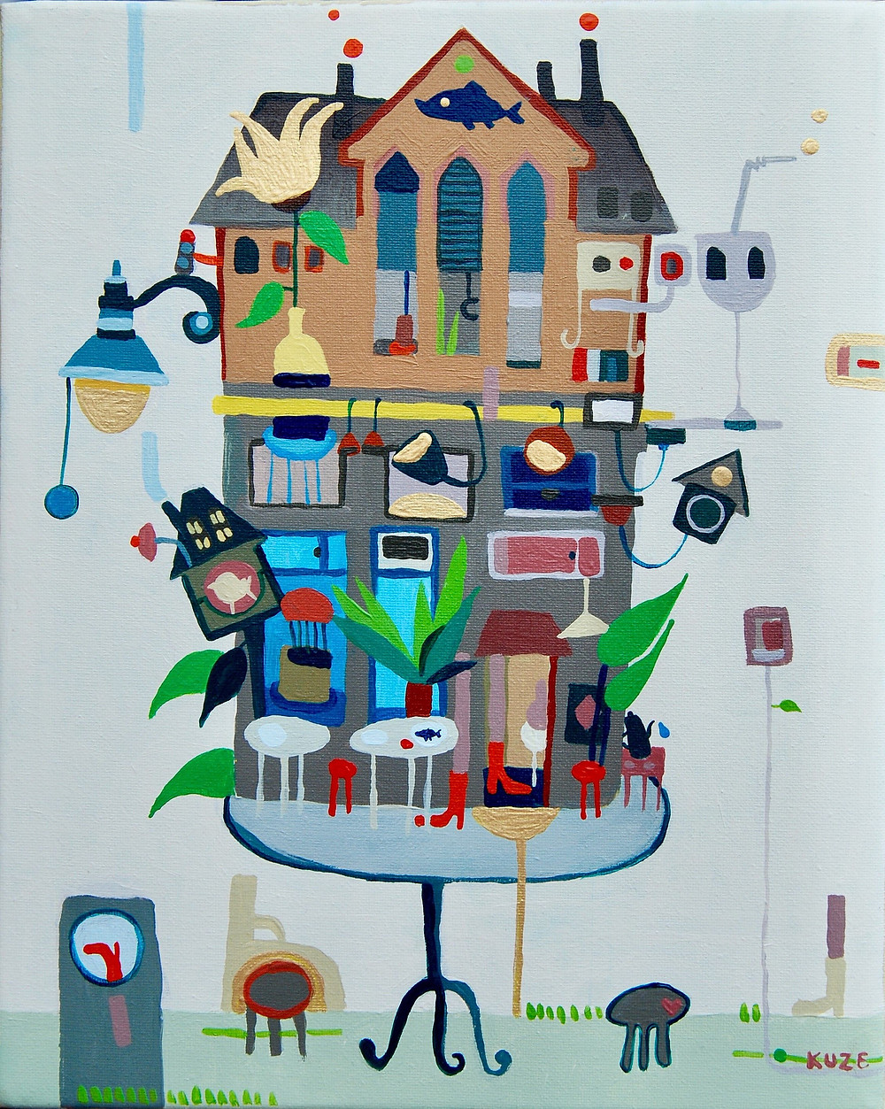 """""""House in Wicklow street"""" acrylic, canvas. Framed 310eur."""