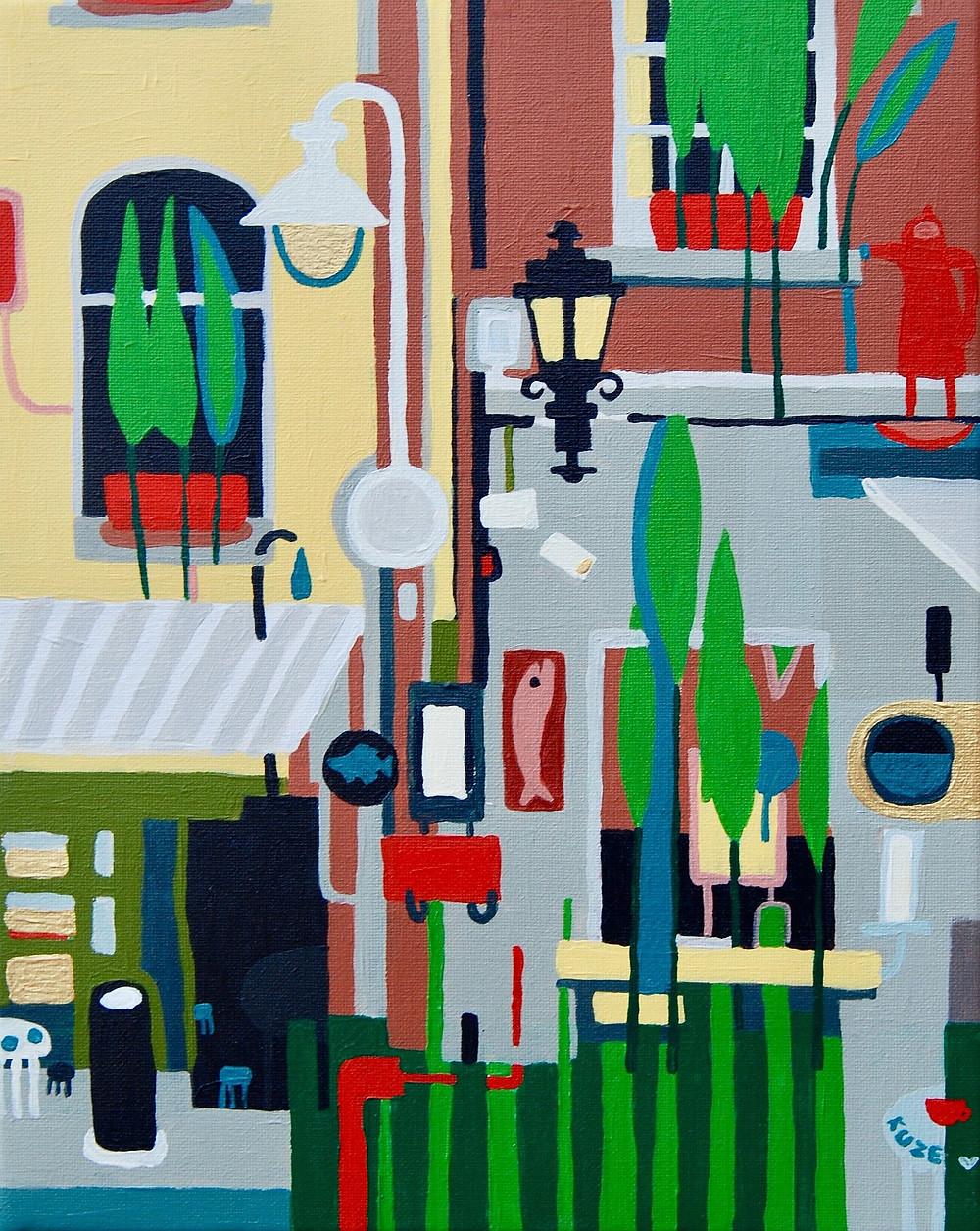 """""""Fragment of Temple Bar"""" acrylic, canvas. Framed 310eur."""