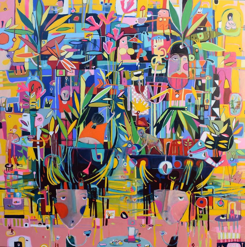 """Biological"" 105x105cm, acrylic on canvas."