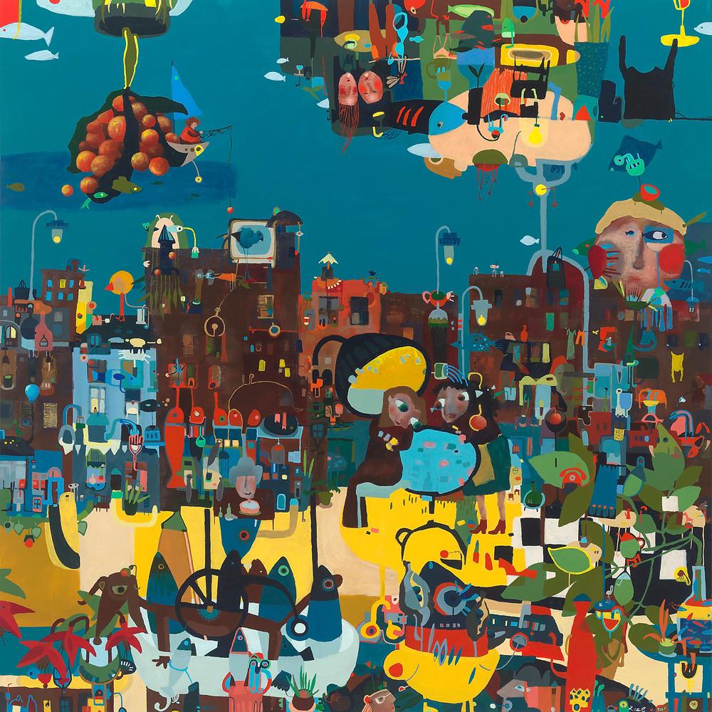 """Finished painting """"Ushers Quay"""" 120x120cm"""