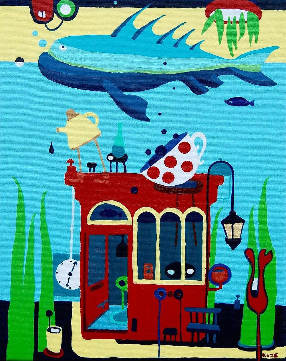 """""""Vape building""""acrylic, canvas. Framed 310 eur."""