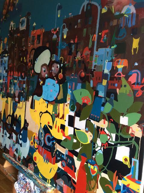 "120x120 acrylic on canvas. ""Ushers quay"""