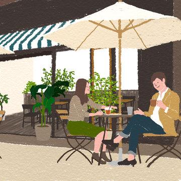 [ARTBOOK掲載イラスト]オープンカフェ