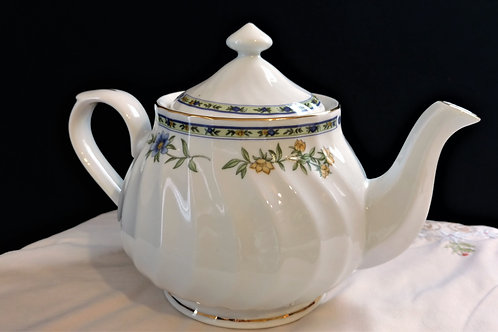 Fine China Teapot with Spring Flowers and Butterflies