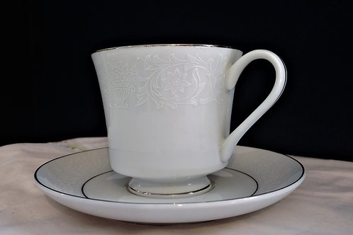 Crown Victoria Lovelace Fine China Teacup with Saucer Made in Japan