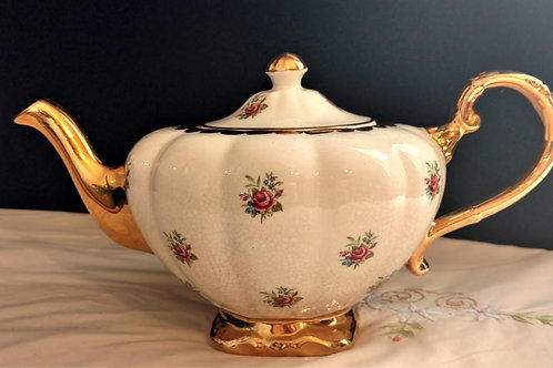 Arthur Wood made in England.  Gold Trim with Floral Decoration Teapot