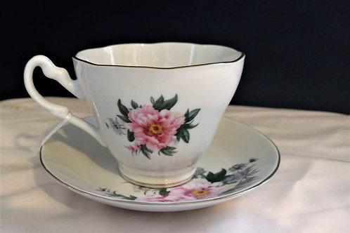 Rose Teacup with Saucer
