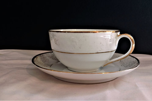 Bavaria Tirschenreuth Gold Trim Teacup and Saucer