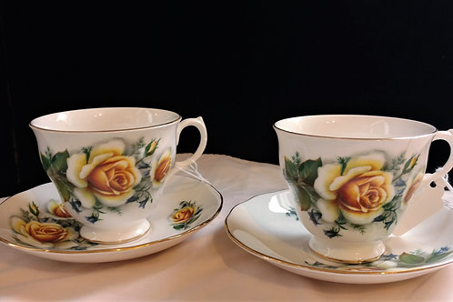 Gainsborough Bone China Pair of Teacups Made in England