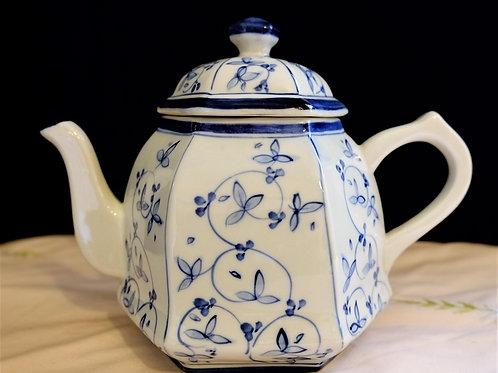 Blue Flowers with Blue Trim and Rim Teapot. Unique Octagon lid