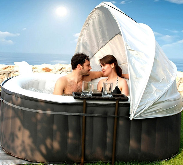 Sunshade canopy for inflatable hot tub
