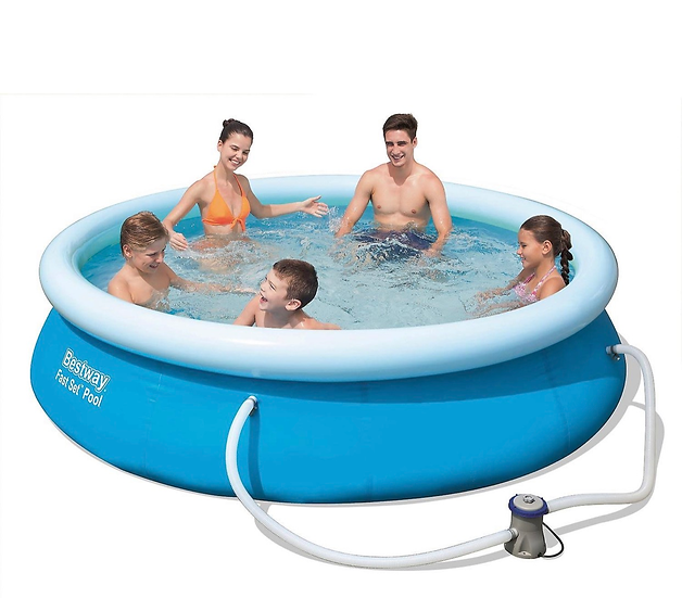 10 ft Round Inflatable Pool with filtration pump Bestway Fast set 305x76 cm