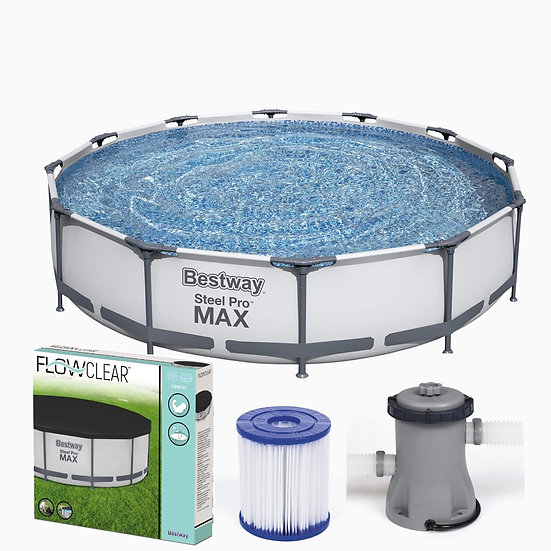 12ft x 30in Bestway Swimmingpool set + Cover + Filtration Pump