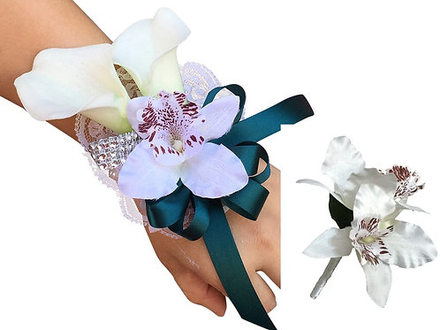 Tropical Orchid and Calla Lily Wrist Corsage and Boutonniere  Dark Teal Ribbon