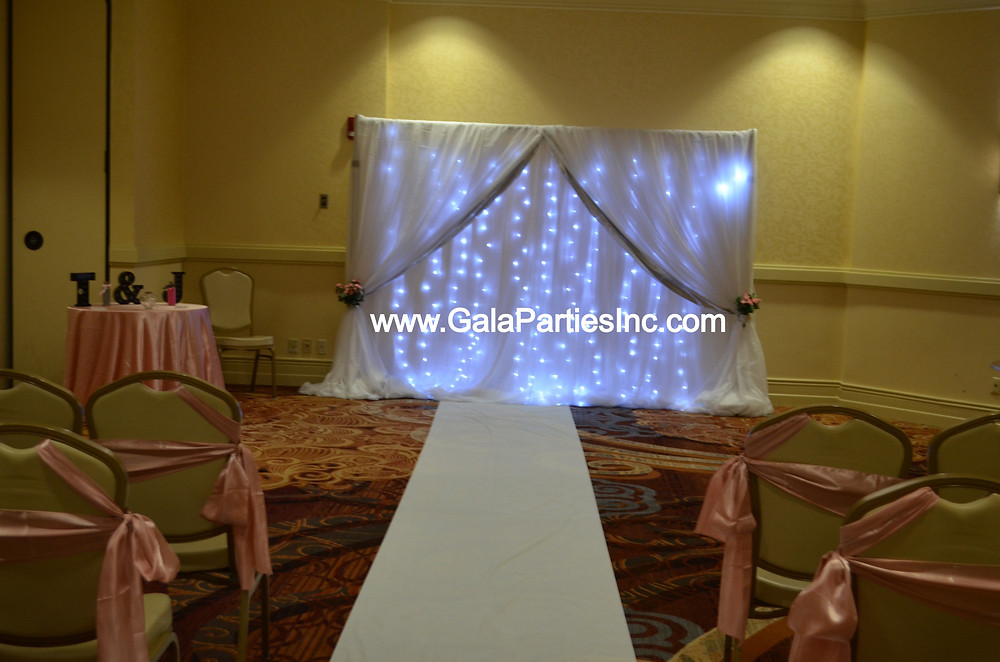 Fairy Light White Silver Wedding Event Backdrop DIY