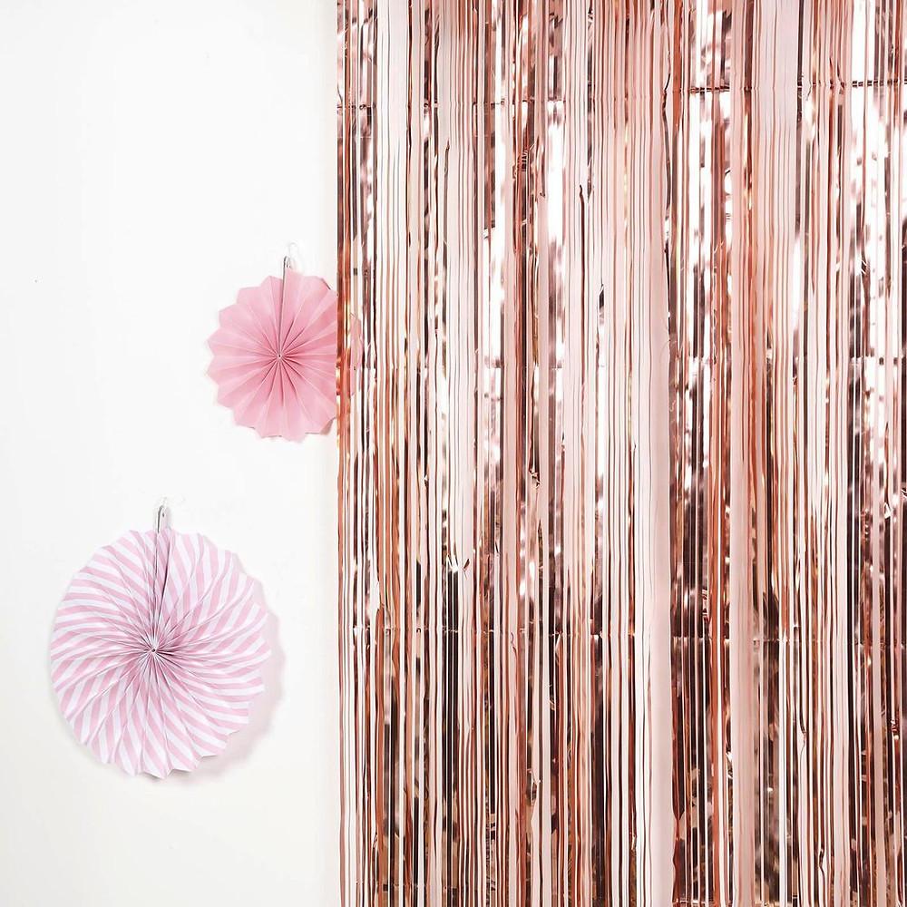 Rose Gold Metallic Foil Shimmer Fringe Curtain