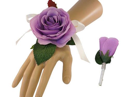 Set: Wrist Corsage & Boutonniere Lilac Purple Roses