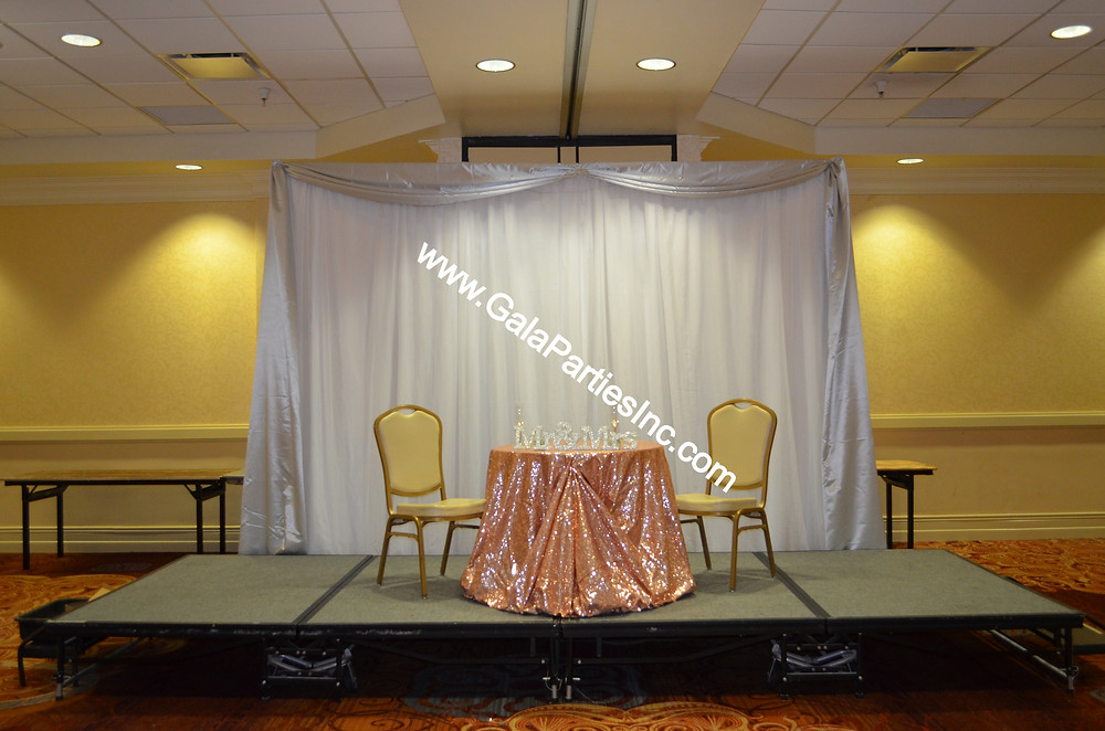 White Silver Reception Backdrop Blush Sequin Tablecloth