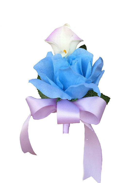 Pin Corsage-Calla Lily Corsage With Silk Baby Blue Rose. Pin Included