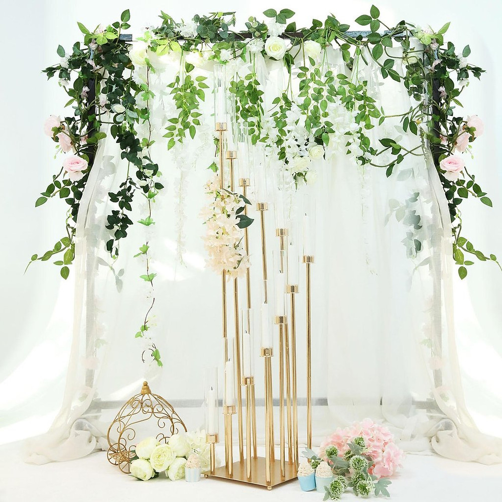 DIY Tall Stemmed Gold Candelabra Wedding Centerpiece