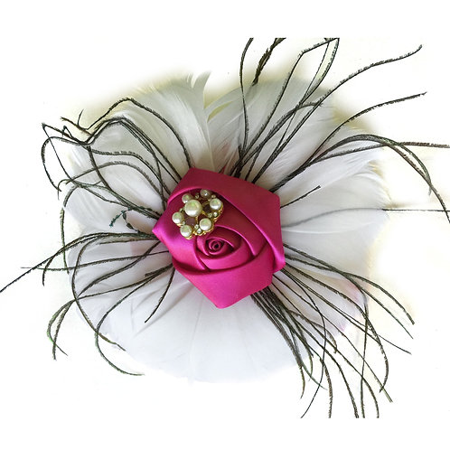 Hair Piece-Feather With Fabric Flower Accents