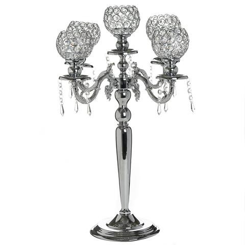 DIY Silver Crystal Beaded Globe Metal Candelabra  Wedding Event Birthday