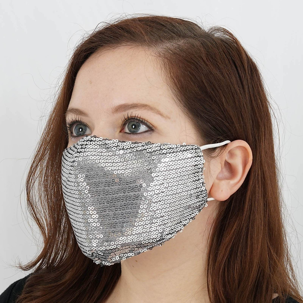 Silver Sequined Cotton Fashion Face Mask Wedding Party