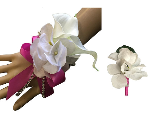 Set: White Hydrangea Wrist Corsage and Boutonniere