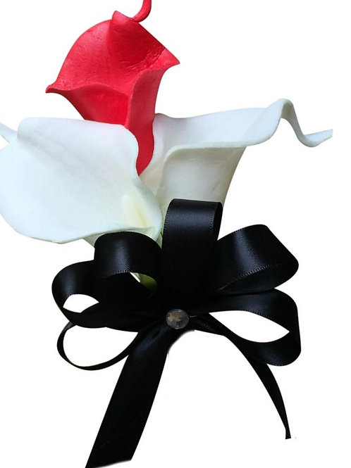 Pin Corsage - Red and White Real Touch Calla Lily With Black Ribbon