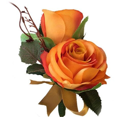 Boutonniere - Double Orange Rose Boutonniere With Gold Ribbon and Greenery