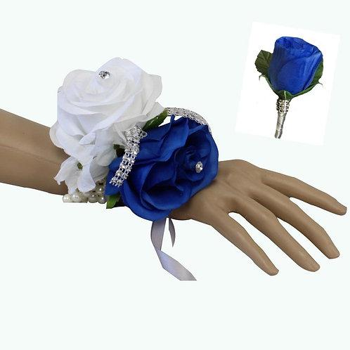 Set: Two Rose Royal Blue , White, Silver Wrist Corsage & Boutonniere