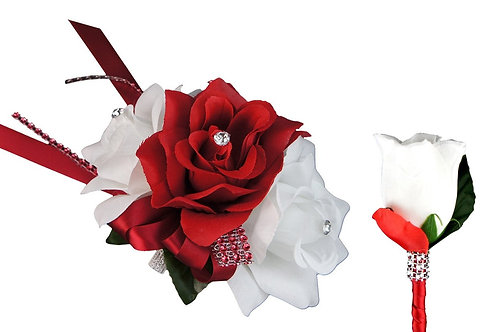 Set: Apple Red and White Three Rose Wrist Corsage and Rosebud Boutonniere