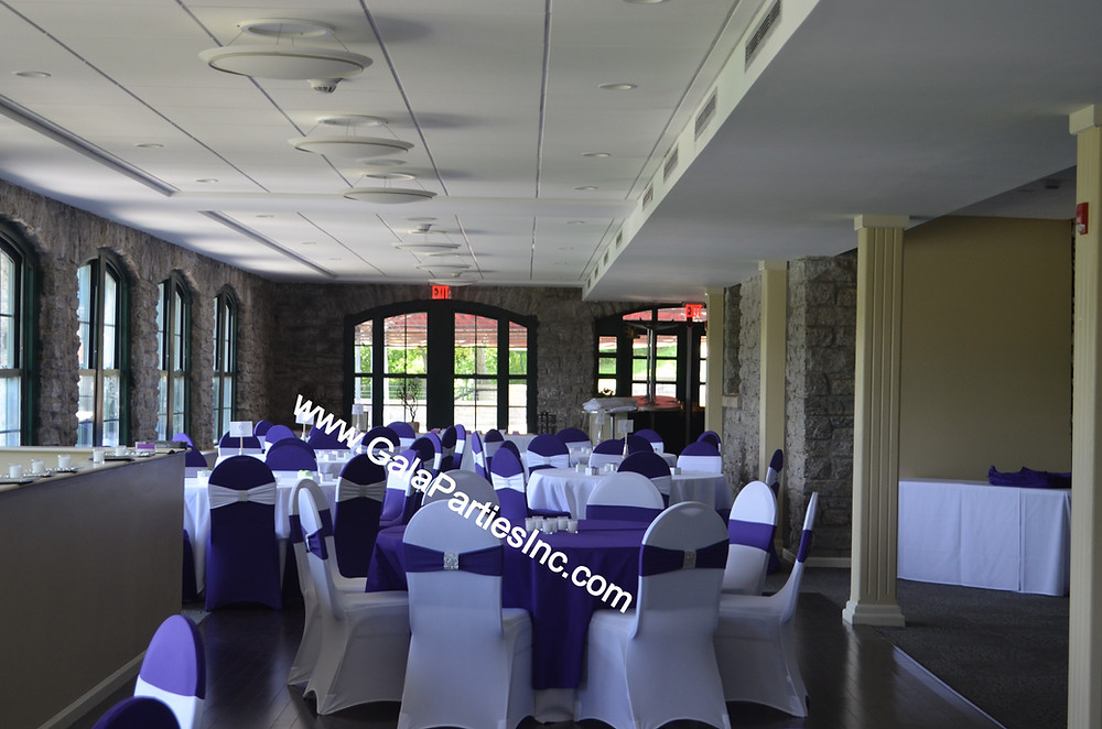 Purple & White Tablescapes Decoration Chair Covers Wedding Event Decor