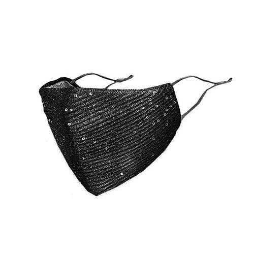 Reiki Sequin Face Mask - Black