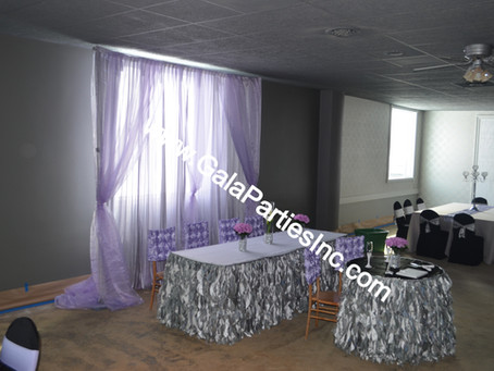 DIY Wedding Backdrop Lavender & Silver