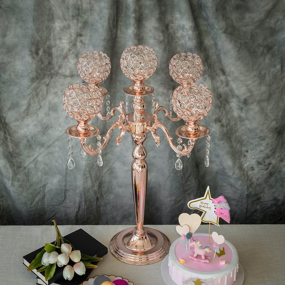 Blush Rose Gold Crystal Beaded Candelabra Candle Holder