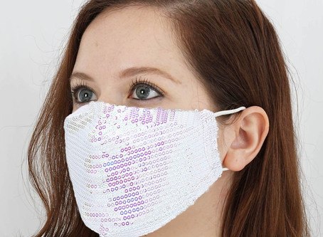 Sequin Wedding Face Mask For Bride