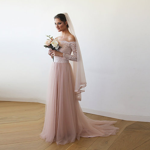 Pink Off-The-Shoulder Lace & Tulle Train Dress #1162
