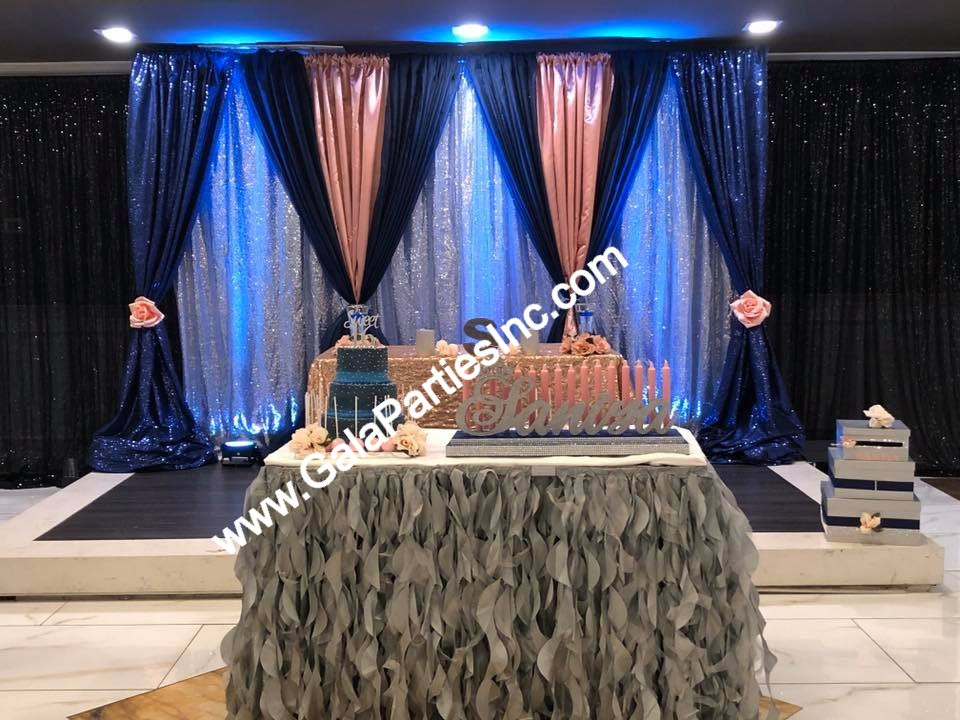 Blush Navy & Silver Sweet Sixteen Stage Decor